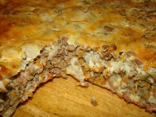 простой рецепт мясной пирог