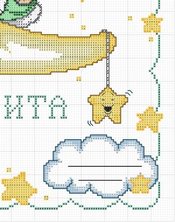 Схема вышивки мишка на облаке
