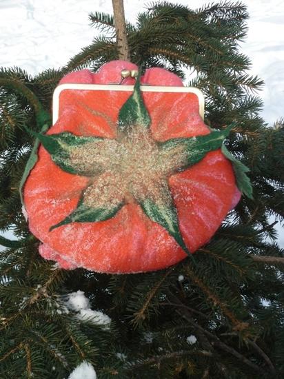 """Войлочная женская сумочка с фермуаром  """"Роза """" -2. Интернет магазин вещей из шерсти.  Ручная работа, handmade."""