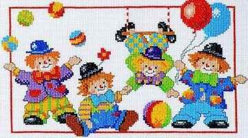 """Схема вышивки  """"Клоуны """": таблица цветов."""