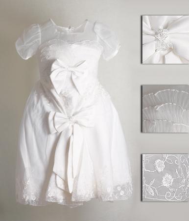 Платье нарядное для девочки, атласное, на подкладке с кринолином.