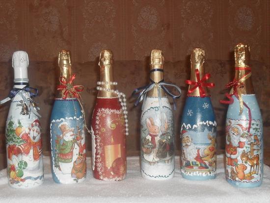 новогодняя бутылка с конфетами